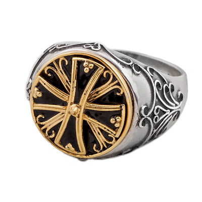 D228-1 ~ Sterling & Gold Plated Silver with Enamel Medieval Byzantine Cross Ring