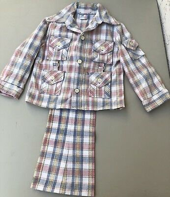 1970's -Billy The Kid- Vintage Western Boys Suit Pastel Plaid Bellbottoms Size 6