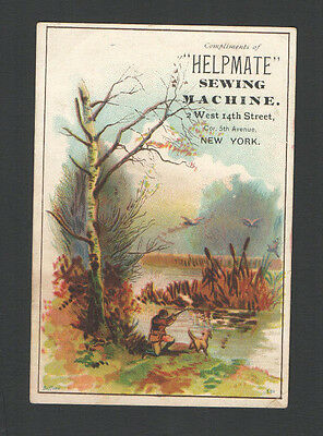 Victorian Tradecard Hunter Shooting Ducks & His Dog HELPMATE Sewing Machine NY