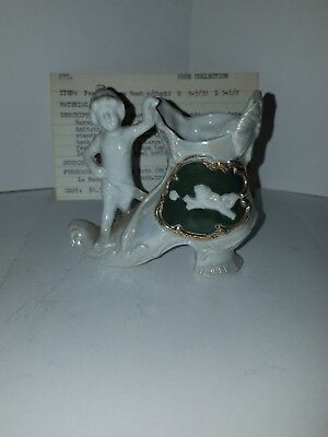 Antique Porcelain Jasper Ware Style Miniature boot with cupid  #273
