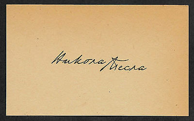 Nikola Tesla ( Cyrillic ) Autograph Reprint On Original Period 1880s 3X5 Card