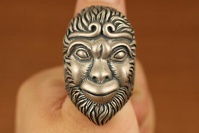 Big Rare chinese 35g 925 fine Silver Wukong Statue Ring
