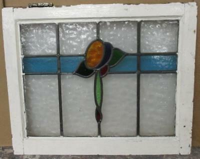 MID SIZE OLD ENGLISH LEADED STAINED GLASS WINDOW Colorful Mastery 23.25 x 19.25""