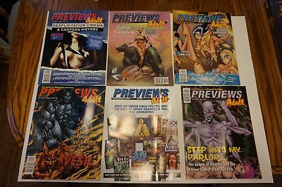 6x Diamond ADULT Comic PREVIEWS Catalog from 1998 ~ ALL the ADULT Comics, etc