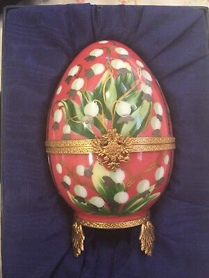 FABERGE EGG LILIES OF THE VALLEY PAINTED BY LIMOGES FRANCE! Beautiful with box!