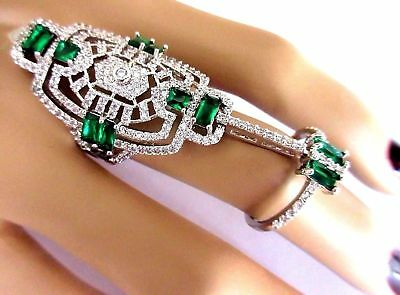 Amazing Art Deco Emerald Green & Blinding Ice CZ Platinum Plate Double Band Ring