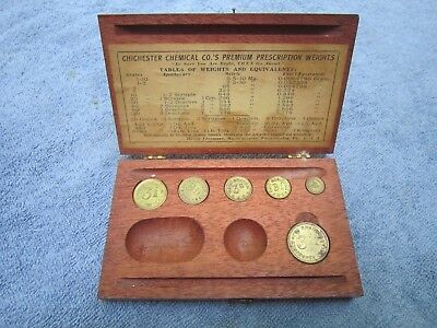 SET OF 6 H.TROEMNER APOTHECARY COIN TYPE  SCALE WEIGHTS w/ ORIGINAL FITTED BOX