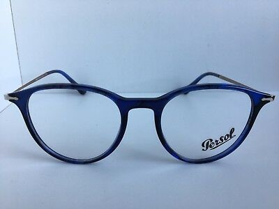 9ea8345de4704 New Persol 3147-V 1053 50mm Rx Round Blue Eyeglasses Frame Hand Made in  Italy