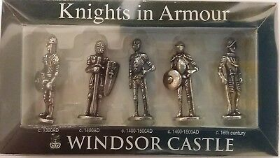 Windsor Castle Souvenir Knights in Armour 5 Figurine set Pewter NEW IN BOX!!
