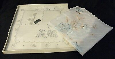 Boxed floral vintage handkerchief ladies white broderie anglaise Switzerland