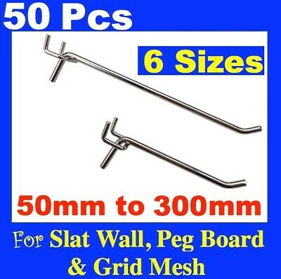 PS-H Peg Board Hooks 50mm To 250mm Pegboard Grooved Slatwall Slat wall Panel NEW