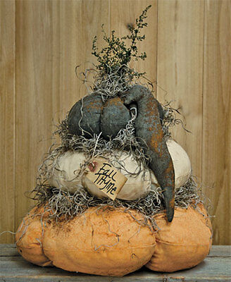 Country STUFFED FAT PUMPKIN STACK w/CROW Primitive Rustic Fall Autumn