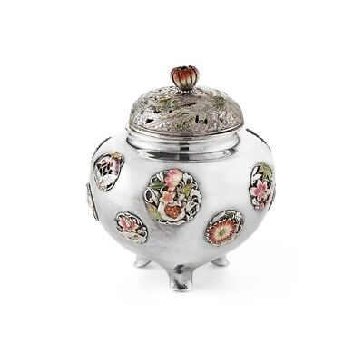 Delightful Antique Japanese Silver and Enamel Koro - Masauji