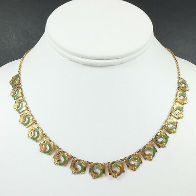 Lovely Antique Art Deco Rolled Gold Egyptian Revival Collar Necklace /Choker