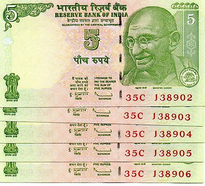 INDIA 5 Rupees 2009 P88Ae Letter L Sign. 89 x 5 Consecutive aUNC Banknotes