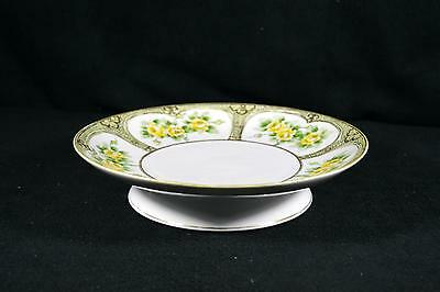 Vintage Hand Painted Cake Plate/Stand - Yellow Flowers With Gold