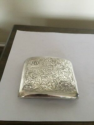 """Lovely Highly Chased Sterling Silver Cigarette Case Monogramed (83Gm 3.5"""" X 3)"""