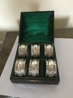 Lovely Cased Set Of 6 Victorian Circular  Shaped Silver Plated Napkin Rings