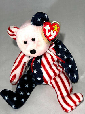 TY Beanie Babies SPANGLE Patriotic Bear! Red / Pink Head NOS MINT TAGS
