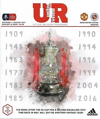 MANCHESTER UNITED v READING FA Cup 3rd Round 2016/17 MINT
