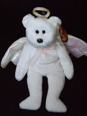 Ty Beanie Baby HALO the Bear 1998 Black Eyes Brown Nose RARE PE Pellets in case