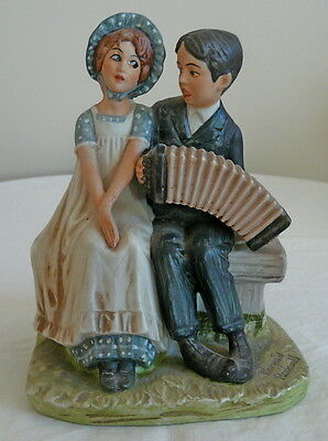 "Larger Size-5"" Older-c. 1973 NORMAN ROCKWELL Figurine-LOVERS, ACCORDIAN PLAYER"