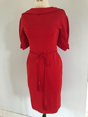 Sell out, Karen Millen BNWT fitted red designer belted dress size 12