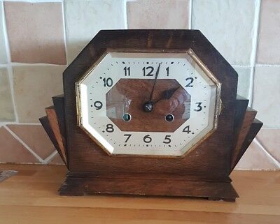 Antique English mantle clock. Stylish Deco clock