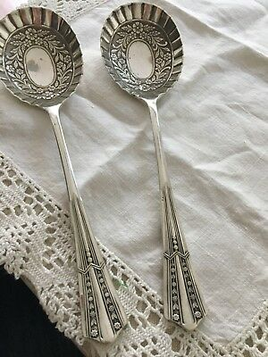 Vintage EP Silver Plate , Pair Of Berry Spoons