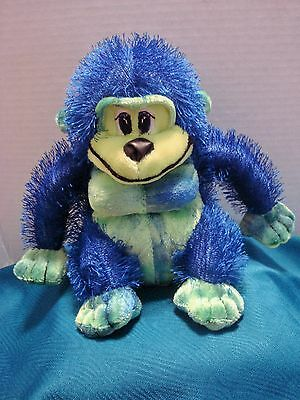"""Toy Factory Adorable Fluffy Royal Blue/Lime Green 8"""" Monkey Gorilla Stuffed"""