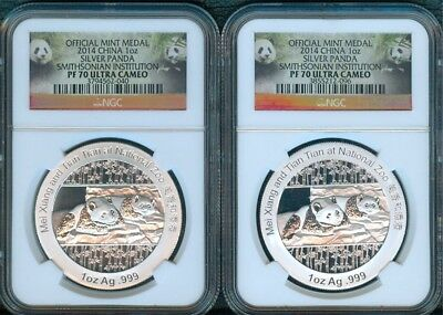 2014 Silver Pandas, NGC Proof 70 Smithsonian Issue, 2 Pieces