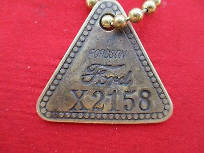 """Vintage Brass Tool Check Tag: Ford """"FORDSON""""; Number X2158 (1310)"""