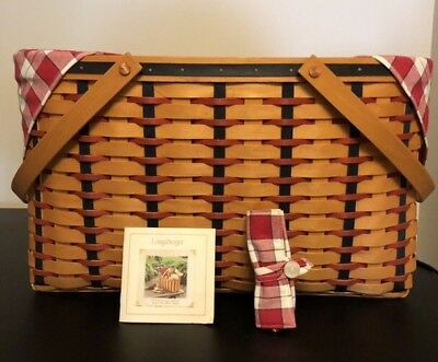 2002 Longaberger All American Block Party Basket, Protector, Liner, Card Insert