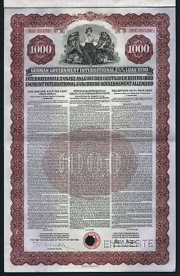 1930 German Government International Loan - Gold Bond with Coupons