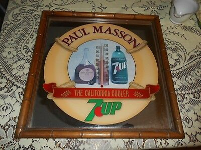 Vintage Paul Masson / 7 Up Mirrored California Cooler Advertisting Wall Sign