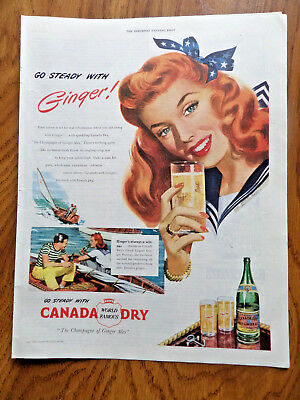 1947 Canada Dry Beverages Soda Ad Sailing Theme  Red Head Gal Lady Ginger