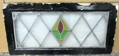"LARGE OLD ENGLISH LEADED STAINED GLASS WINDOW Pretty Floral Lattice 30"" x 14.5"""