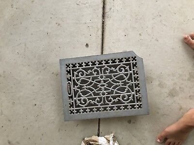 Antique Vintage Cast Iron Louvered Floor Air Grate Register Vent 16 X 14 Waffle
