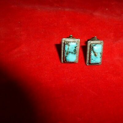 Rare Antique Native American Navajo Indian Sterling Silver Turquoise Ear Rings