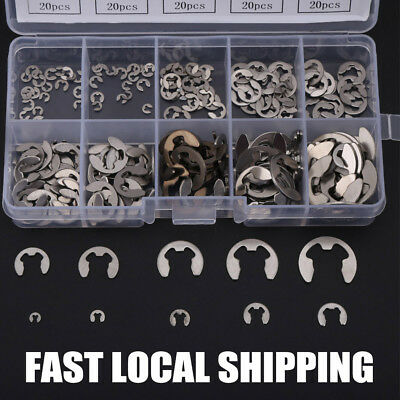 200PC Stainless Steel E-Clip Assortment Kit 1.5/2/3/4/5/6/7/8/9/10mm Circlip AU