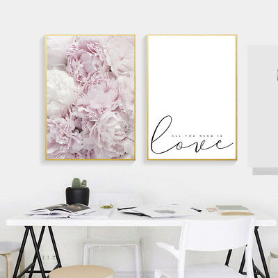 Pink Flower Wall Art Canvas Nordic Poster Print Floral Painting Home Decor