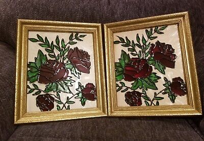 Vintage Rose Leaded Glass -- Wood Framed -- Ready To Hang -- Pair