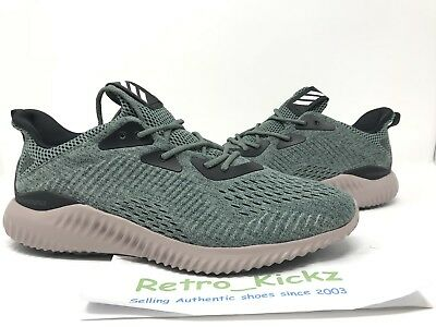 differently 6242d 2a6bb Bb9042 Adidas Alpha Bounce Em Green Tan Black Running Shoes Size 11 Mens