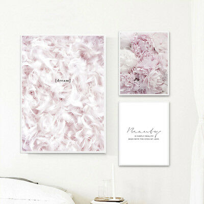 Feather Flower Pink Canvas Nordic Posters Quote Wall Art Prints Painting Decor