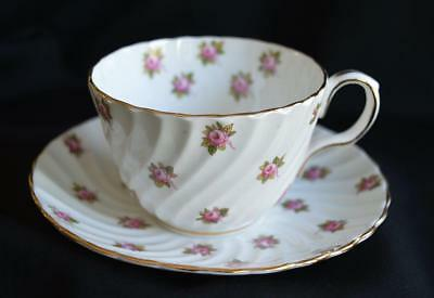 Delicate Pink Roses Aynsley Bone China Teacup & Saucer England