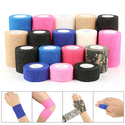 10 Rolls Self-adhesive Elastic Bandage 5*5 First Aid Medical Gauze Tape Finge HO