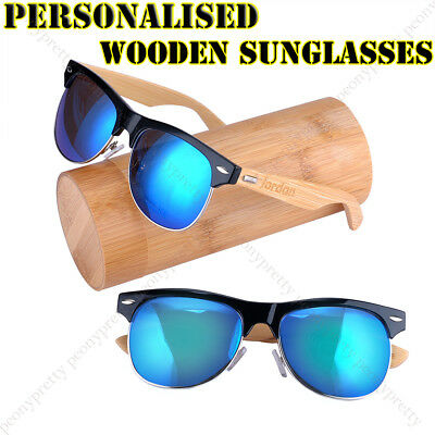 Personalised Engraving Wooden UV400 Mirrored Lens Sunglasses Groomsmen Gift