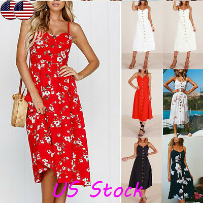 Fashion Women Sling Sleeveless Button Up Boho Floral Dress Summer Beach Sundress