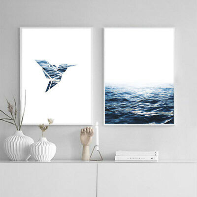 Ocean Sea Landscape  Wall Art Canvas Nordic Poster Print Scandinavian Painting