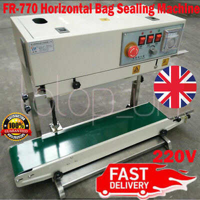 FR-770 220V Continuous Band Sealer Horizontal Bag Sealing Machine UK Fast Ship